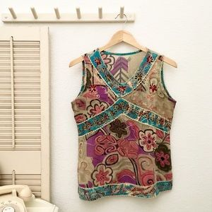 Bohemian Sleeveless Crepe Top Appliqué Embroidered